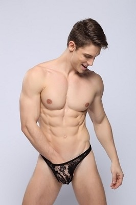 Lace See thru T-Back Thong for Kinky men