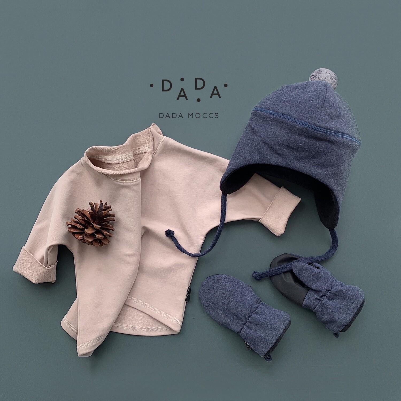 Комплект шапочка с помпоном, базовый свитшот оверсайз и утепленные варежки