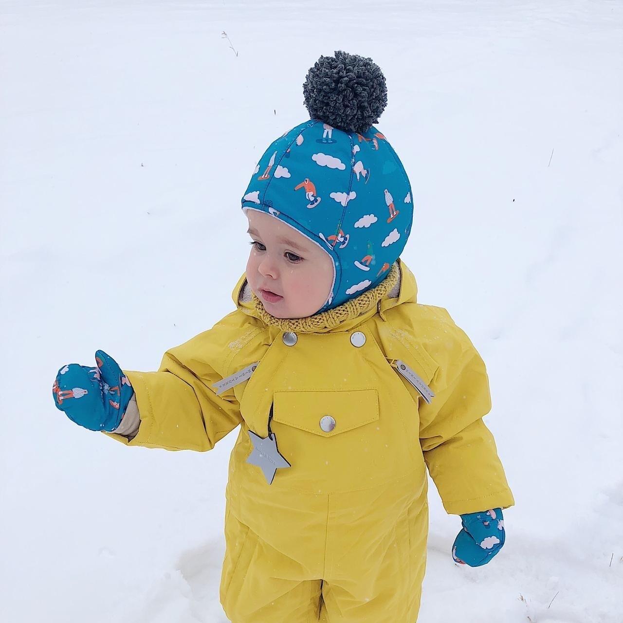 Комплект зимняя шапка и базовые варежки