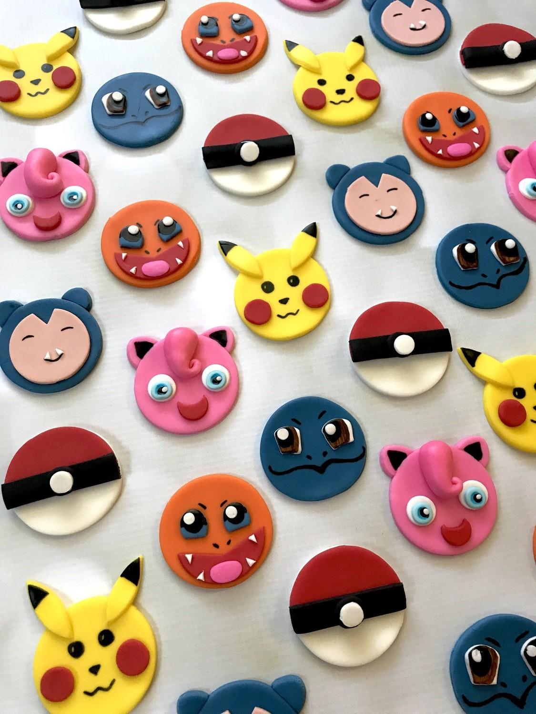 Excellent Dozen Pokemon Themed Fondant Birthday Cupcake Toppers Funny Birthday Cards Online Eattedamsfinfo