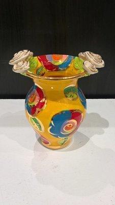 Double Rose Edge Medium Vase - Yellow