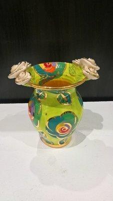 Double Rose Edge Medium Vase - Green