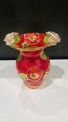 Double Rose Edge Medium Vase - Red