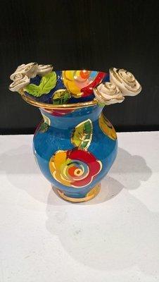 Double Rose Edge Medium Vase - Blue