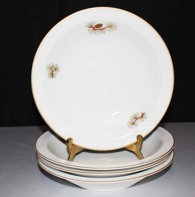 Set of (4) Fukagawa Arita Rim Soup Bowls, Pine Needles & Cones Japan