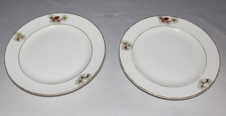 "Set of (2) Fukagawa Arita 7.5"" Salad Plates, Pine Needles & Cones Japan"