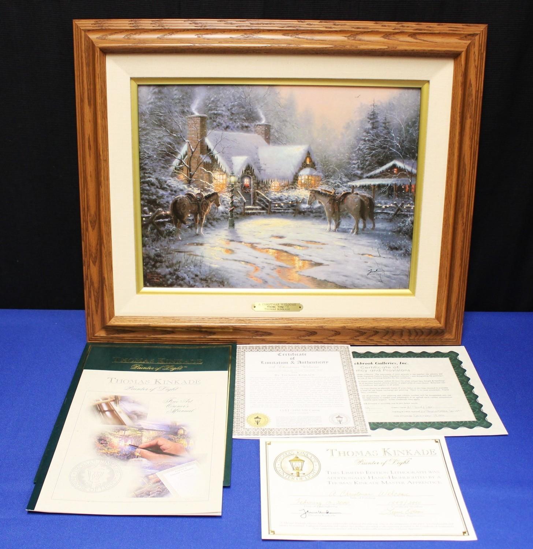 "Thomas Kinkade ""Christmas Welcome Cottage VII"" Lithograph on Canvas #1597/2950"