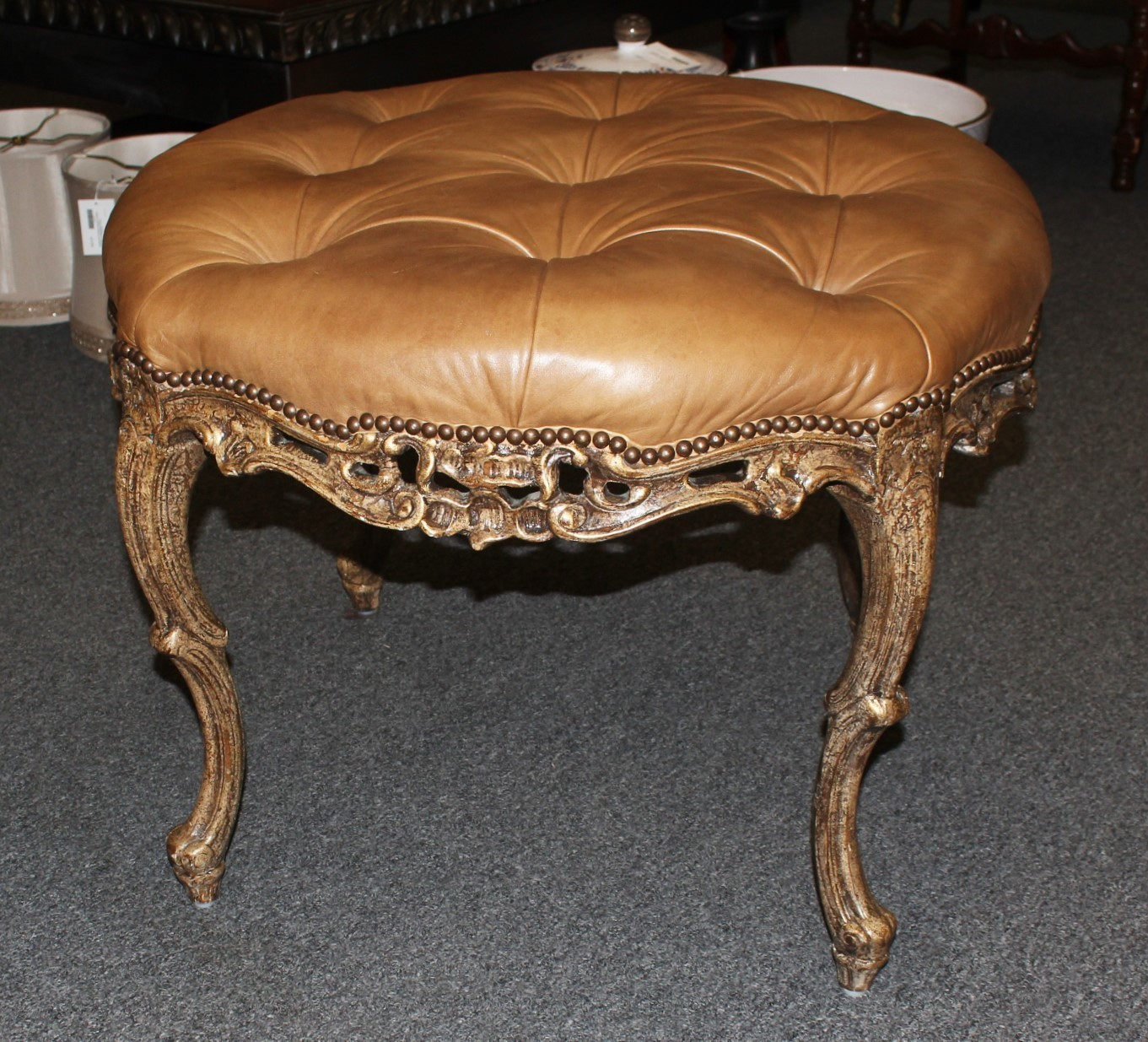 """Vintage French 30"""" Round Carved Cabriole Legs Tufted Leather Ottoman Bench"""