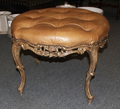 "Vintage French 30"" Round Carved Cabriole Legs Tufted Leather Ottoman Bench"