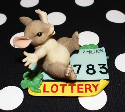 "Charming Tails by Fitz & Floyd Lottery ""I'm A Winner"" #89/719 Figurine w/ Box"