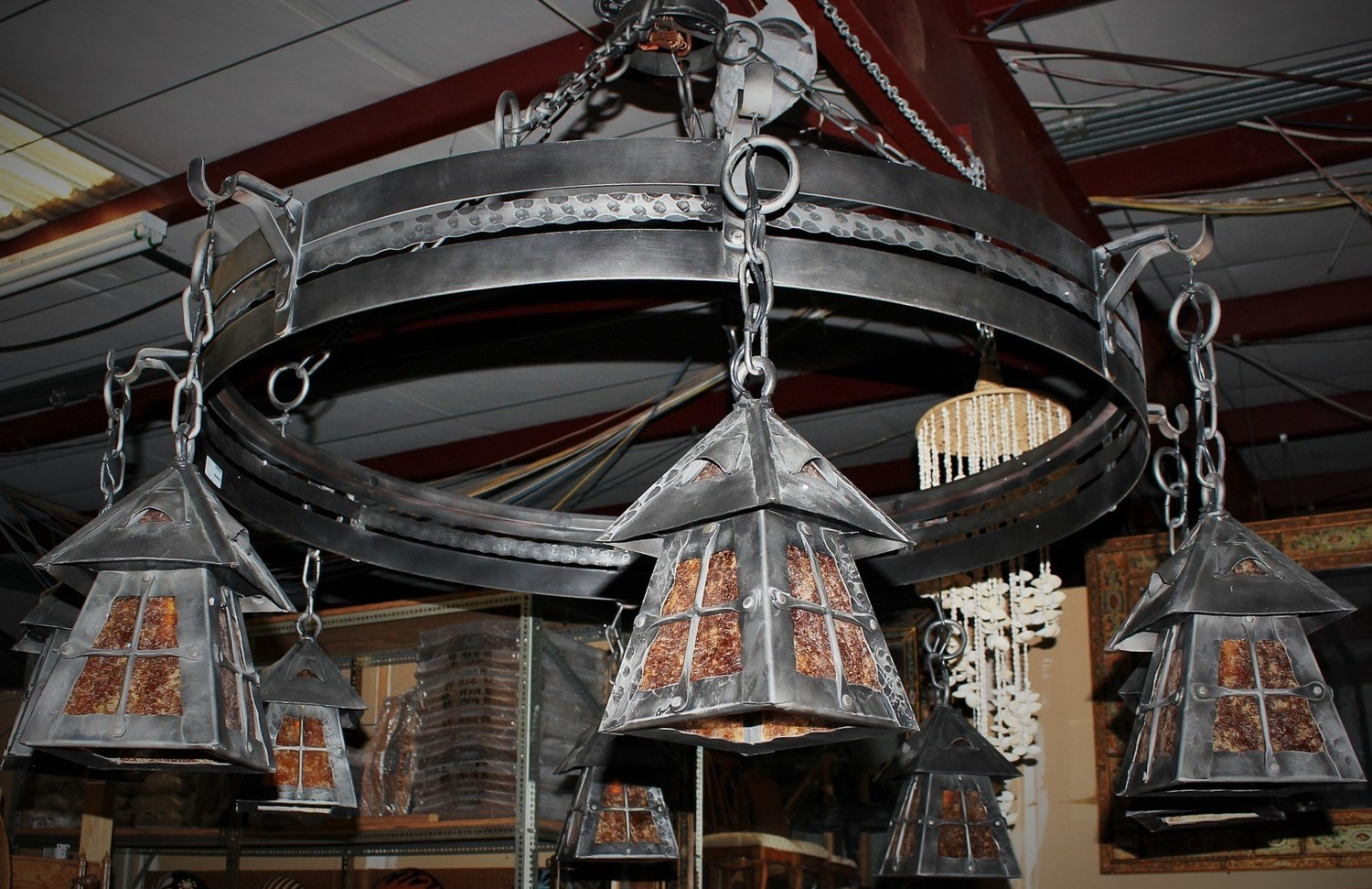 """Gorgeous Highlands Forged Iron 8 Light w/Amber Mica Shades 63"""" Chandelier"""