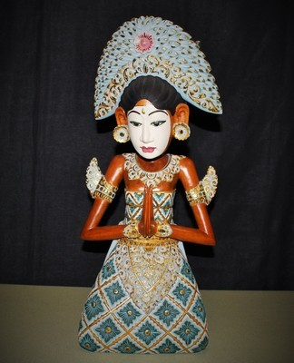 "Vintage Goddess Figurine Statue Hand Carved Painted Balinese 21"" Wood Sculpture"