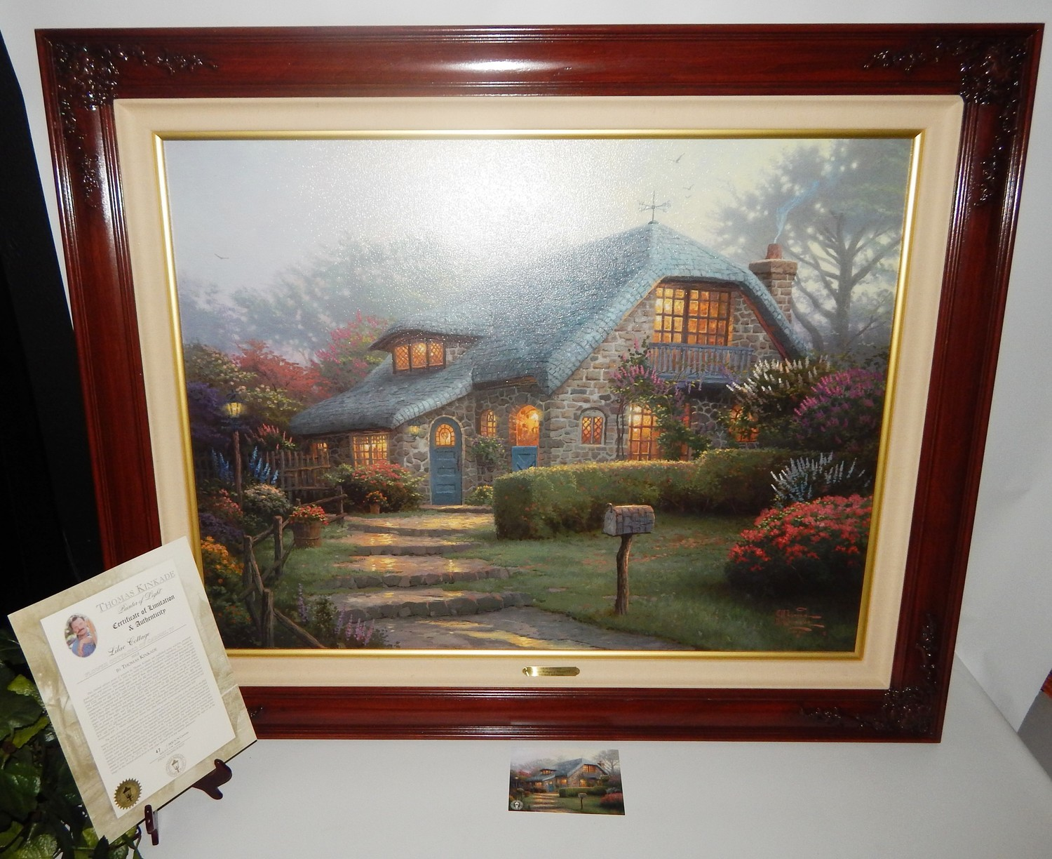 "Thomas Kinkade ""Lilac Cottage"" 34x26 Lithograph on Canvas, Signed Twice #47/3450"