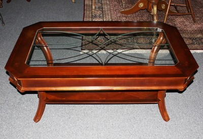 Maitland Smith English Style Satinwood Coffee Table w/Etched Glass Top