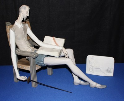 Lladro Don Quixote Porcelain Figurine & Collector's Society Plaque, Signed