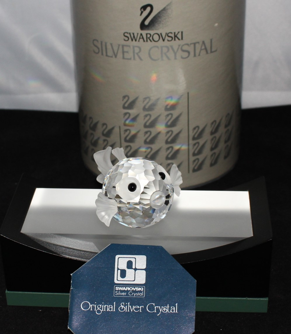 Swarovski Crystal South Sea Blowfish Figurine #7644NR41 w/Certificate & Box