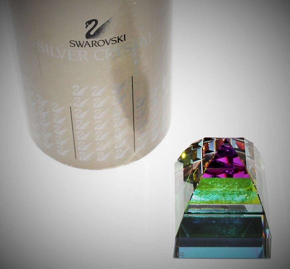 Swarovski Crystal Vitrail Pyramid Large Paperweight 7450NR050 w/ COA & Box