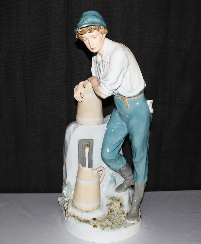 "1940's Royal Dux Large 24"" Porcelain Bohemia Boy at Water Fountain Figurine"