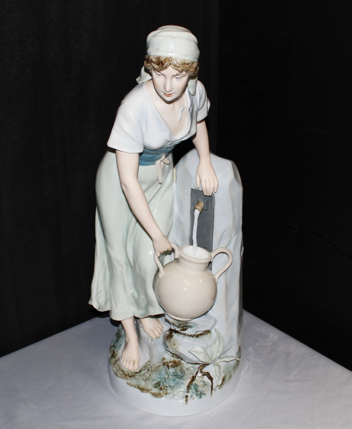 """1940's Royal Dux Large 24"""" Porcelain Bohemia Girl at Water Fountain Figurine"""