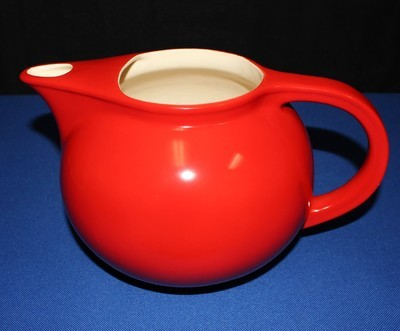 1930's Universal Cambridge Oven Proof Red Ceramic Pitcher w/ Ice Lip