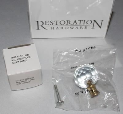 "Restoration Hardware Brilliant Cut Glass 1"" Cabinet Drawer Knob w/Screw Hardware"