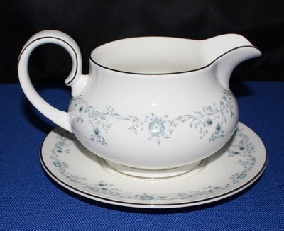 Royal Doulton Angelique White w/ Blue Floral Gravy Boat and Underplate # H4997