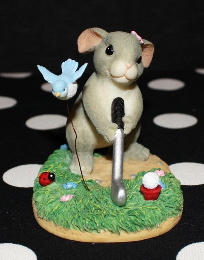 "Charming Tails Fitz & Floyd ""Keep Your Eye on the Birdie"" Golf Figurine w/ Box"