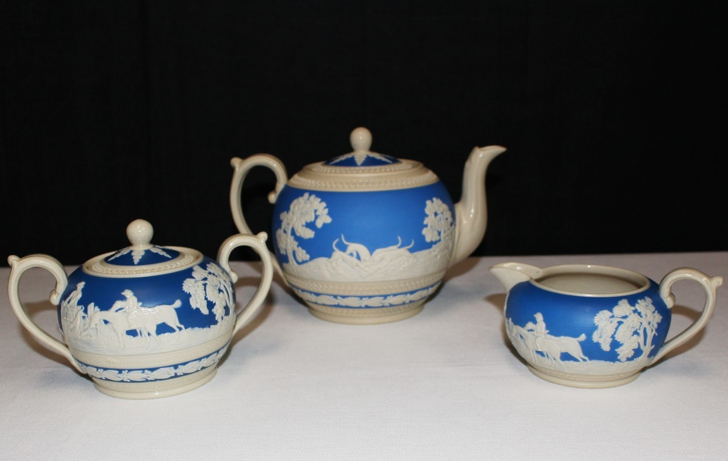 Copeland Spode Blue Fox Hunt Jasper-ware Teapot, Covered Sugar Bowl & Creamer