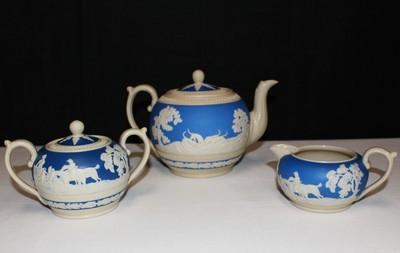 Copeland Spode Blue Fox Hunt Jasper-ware Teapot, Covered Sugar Bowl & Creamer