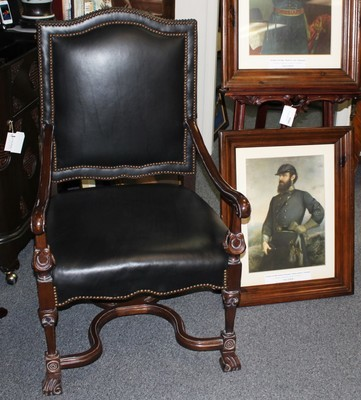 High End Mahogany Executive Black Leather High-back Chair