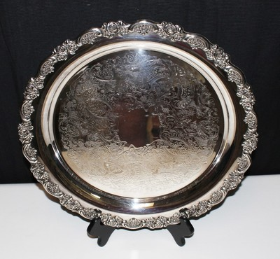 "1960's ONEIDA DU Maurier 15"" Silver Plate Heavy Scallop Ornate Edge Serving Tray"
