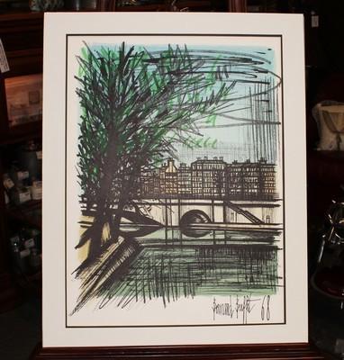 """1968 Bernard Buffet """"Canal St. Martin"""" Lithograph Art, Signed & Dated"""