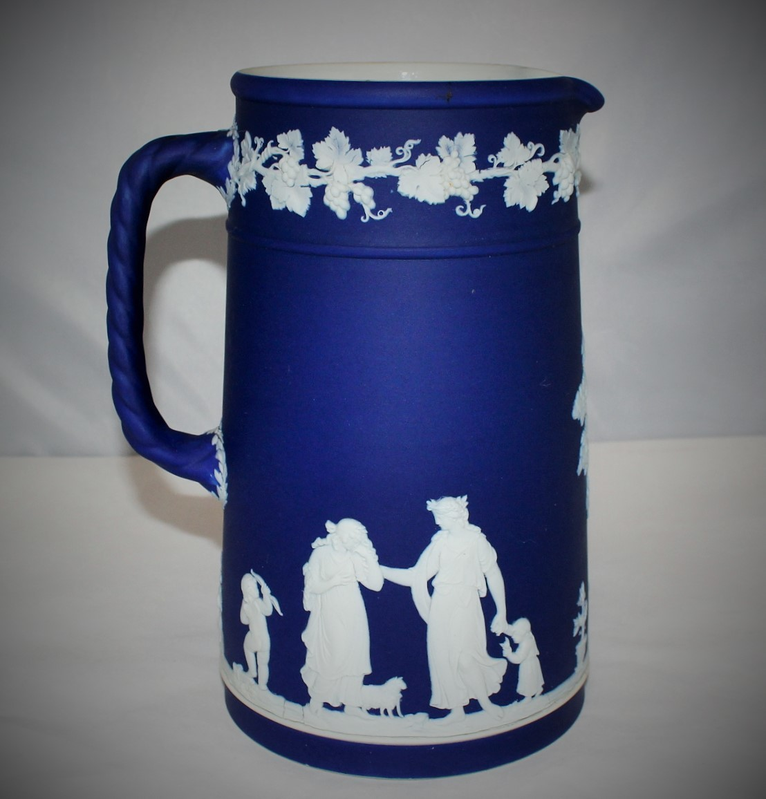 "Antique Wedgwood Jasperware Large 8.5"" Cobalt Blue NeoClassical Pitcher, England"