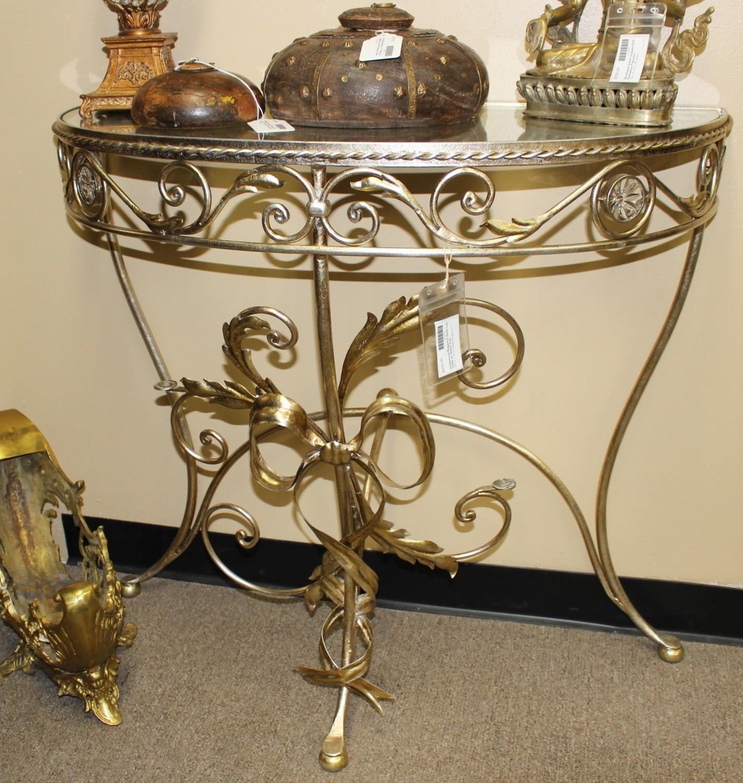 Hollywood Regency Ornate Gold Leaf Half Moon Crescent Glass Top Table