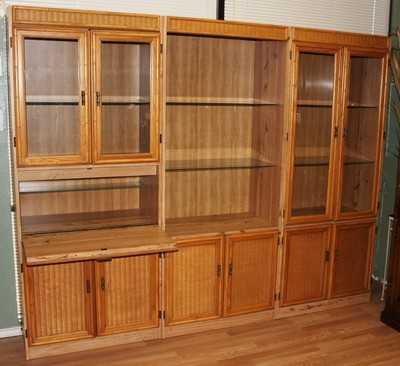 Vintage Faux Bamboo Rattan Lighted Bookcase Display w/Drop Down Desk