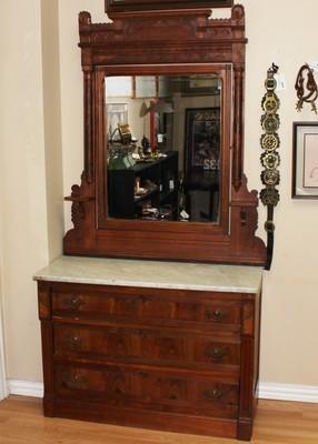 Antique Eastlake Walnut Marble Top Dresser & Mirror w/ Candle Shelves
