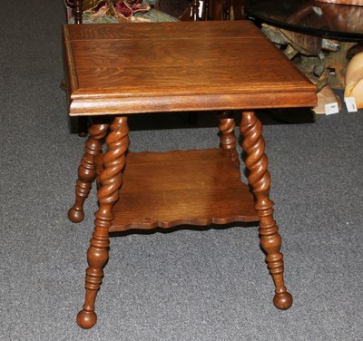 Antique Tiger Oak Barley Twist Square Two Tier Parlor Table