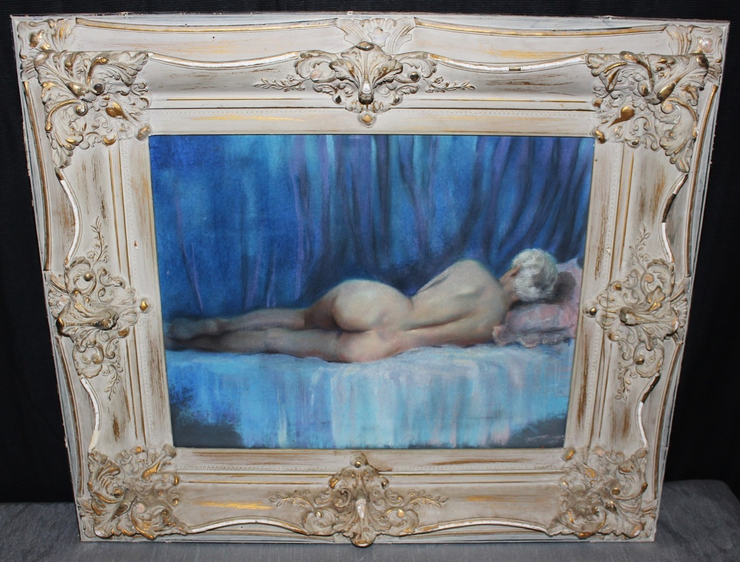 Antique Nude Lady Posing Oil Painting in Ornate 30 x 26 Frame