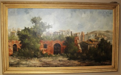 1969 DeMagistris 80x48 Oil on Canvas Italian Village Painting, Signed