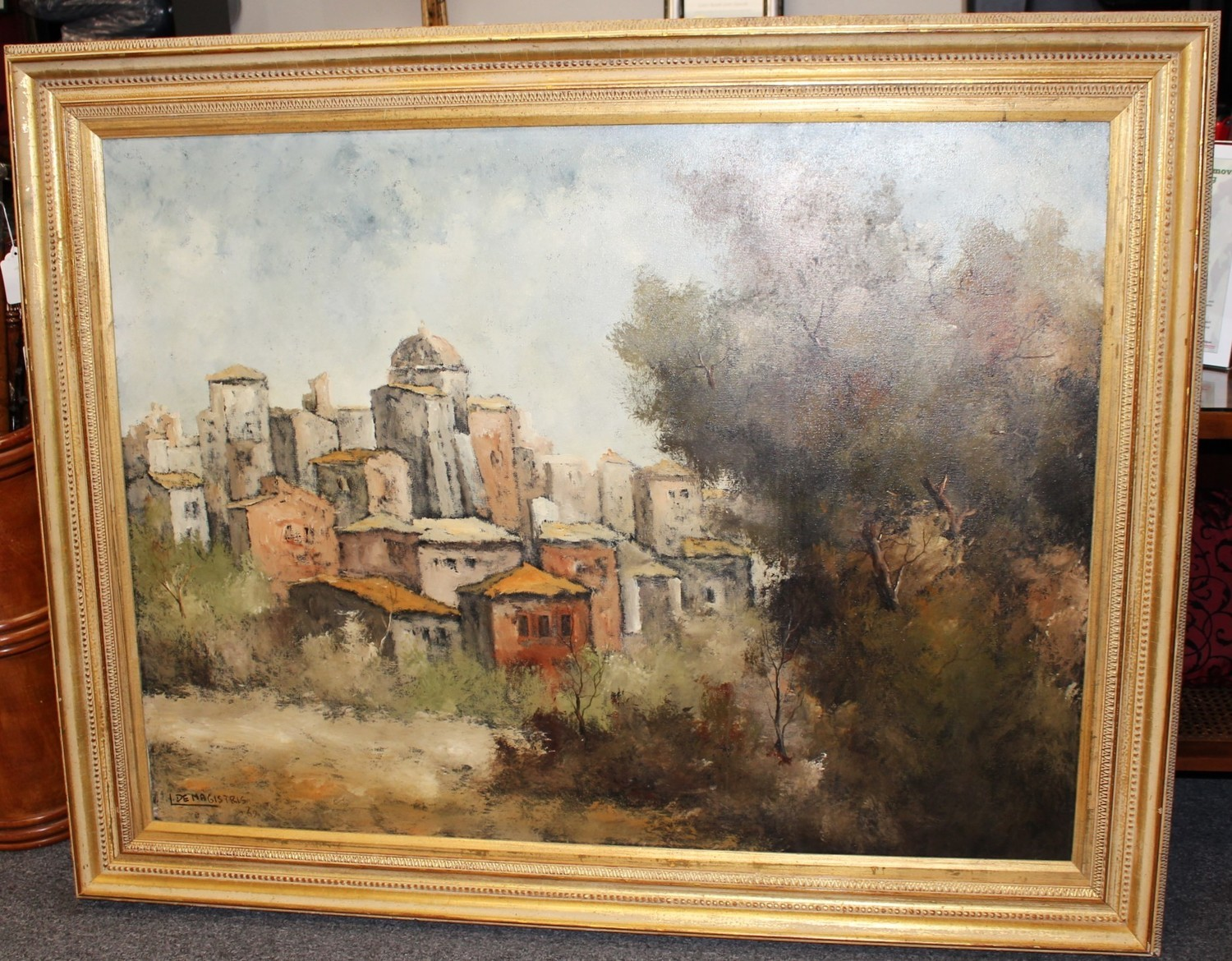 1967 DeMagistris 56x44 Framed Italian Oil on Canvas Painting, Signed