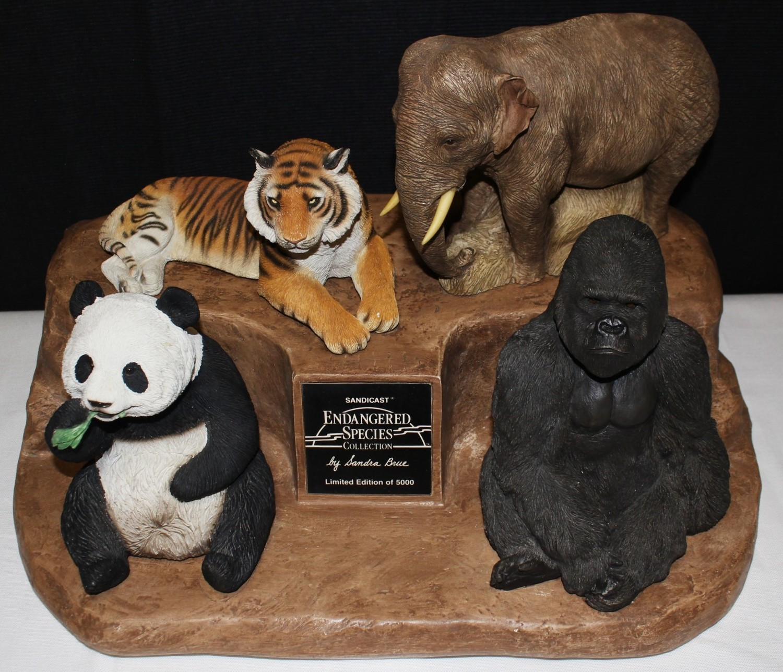 Endangered Species Sandra Brue Sandicast Tiger Panda Elephant Gorilla Sculptures