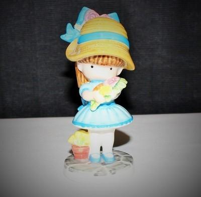 "1981 Joan Walsh Anglund ""Flower Girl"" 5.5"" Ebeling Reuss Porcelain Figurine"