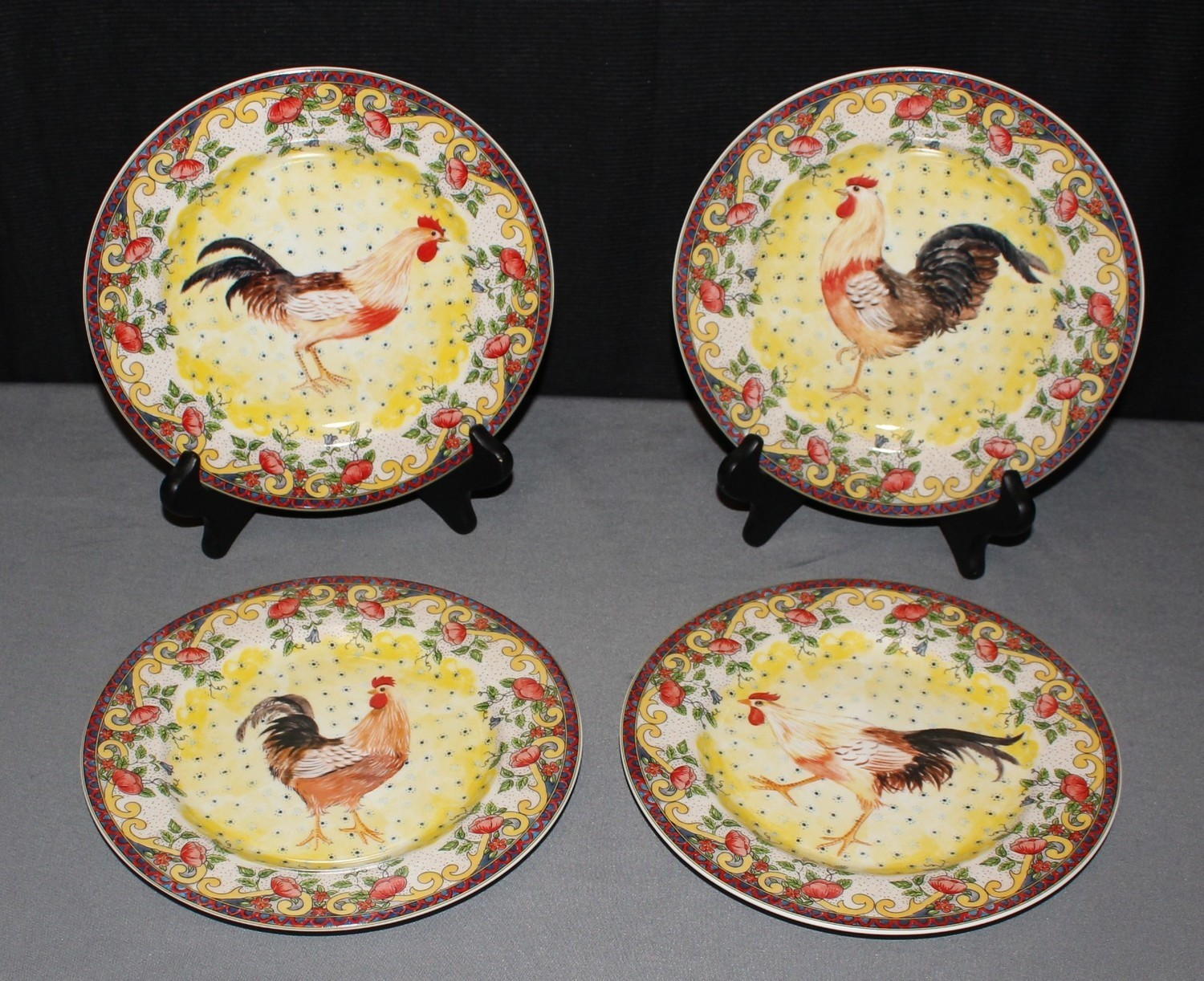 """American Atelier (Set of 4) Salad Plates """"Rooster Design"""" Petite Provence 5074"""
