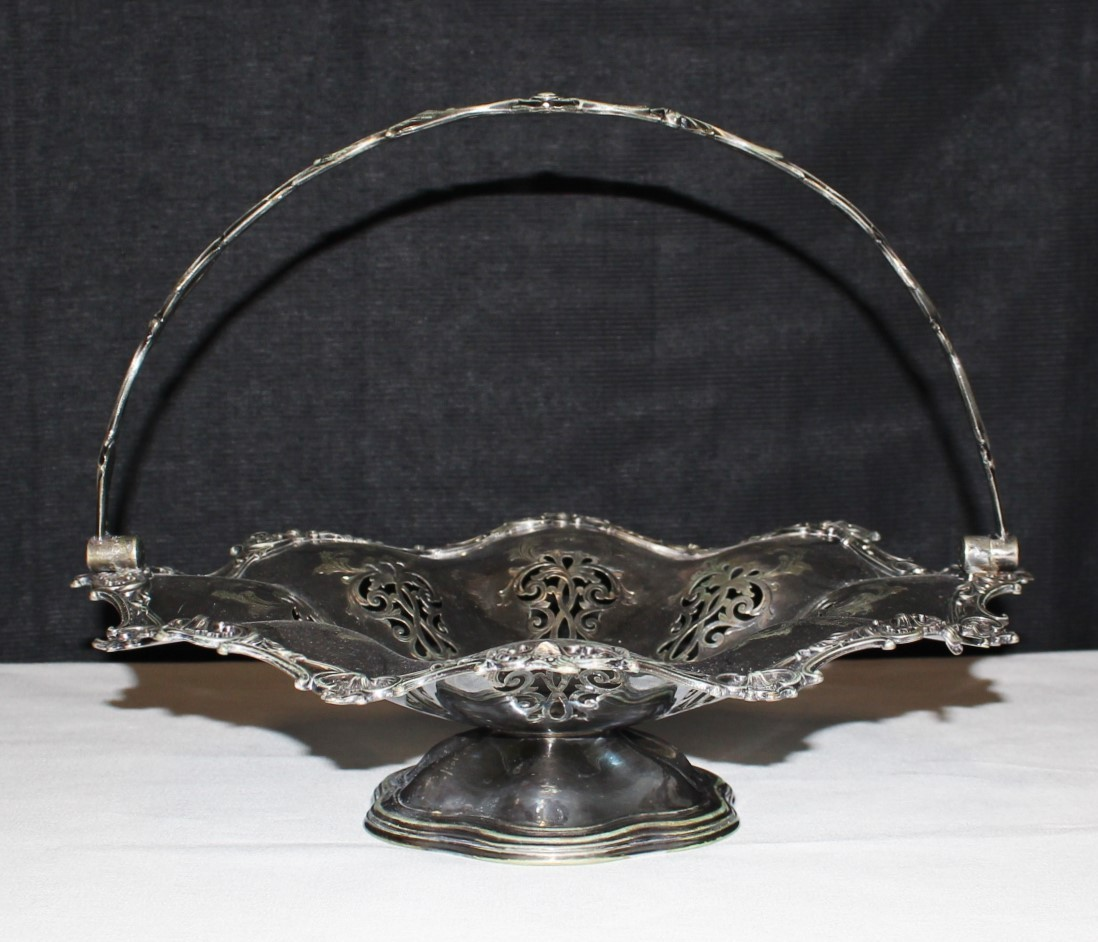 Antique 1860's Victorian Silverplate Joseph Rogers Swing Handled Fruit Basket