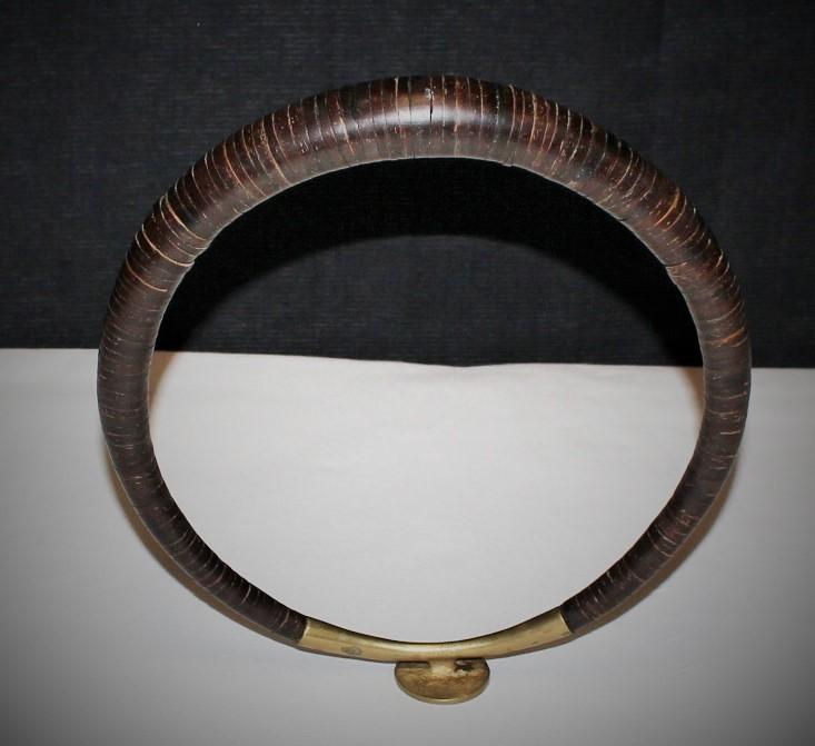 20th Century Nias Island Coconut & Brass Headhunter Warrior Necklace, Indonesia