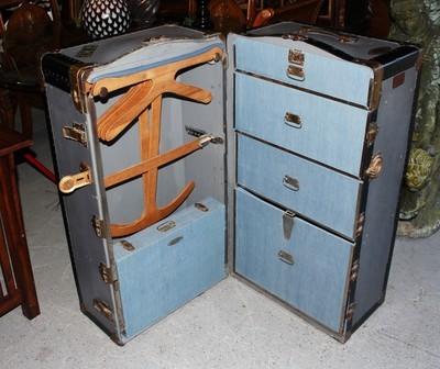 Rare 1900's Keystone Corner Indestructo Wardrobe Steamer Trunk