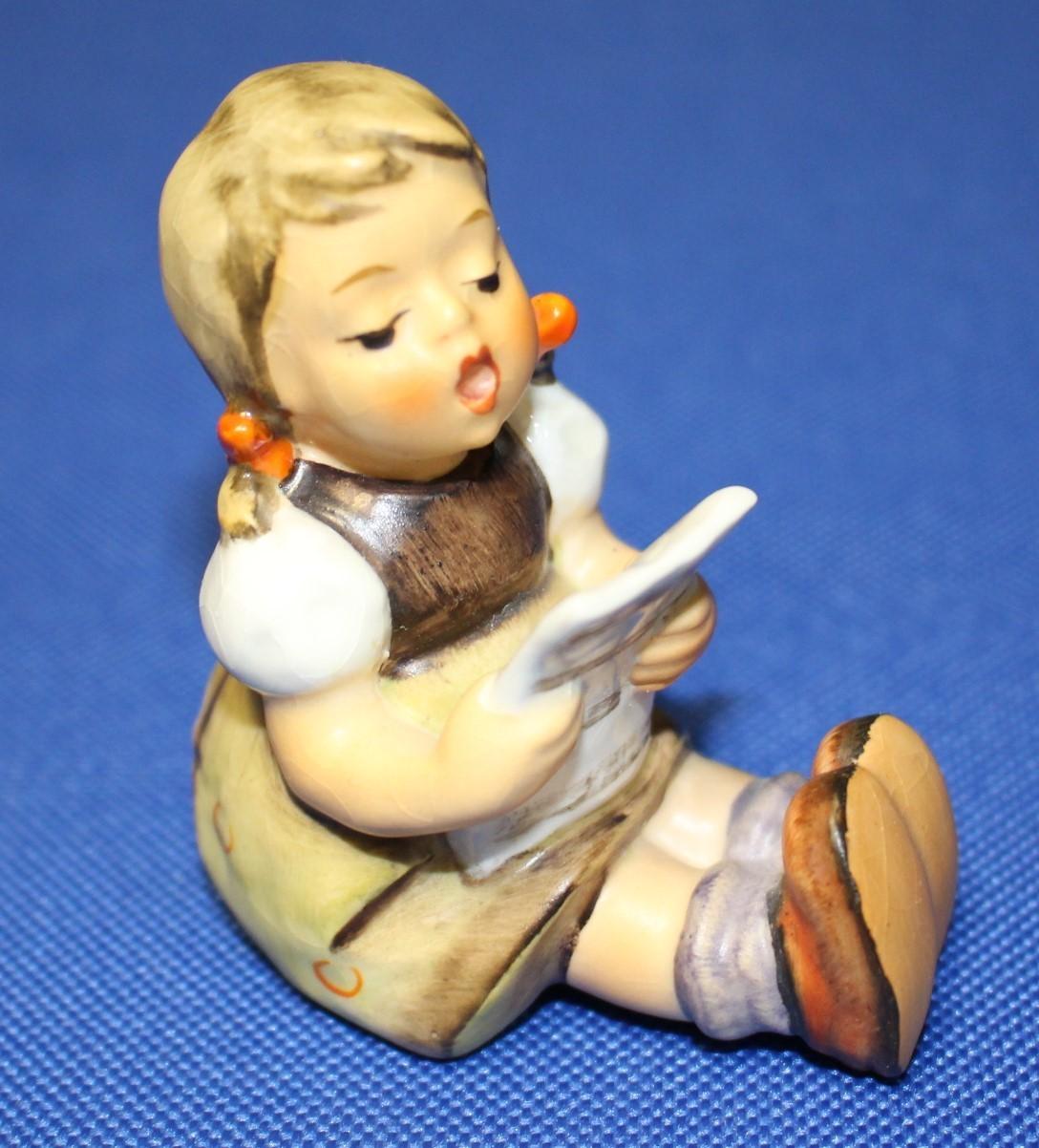"Goebel Hummel Girl w/ Music Sheet 2.5"" Porcelain Figurine #389 TMK-3"