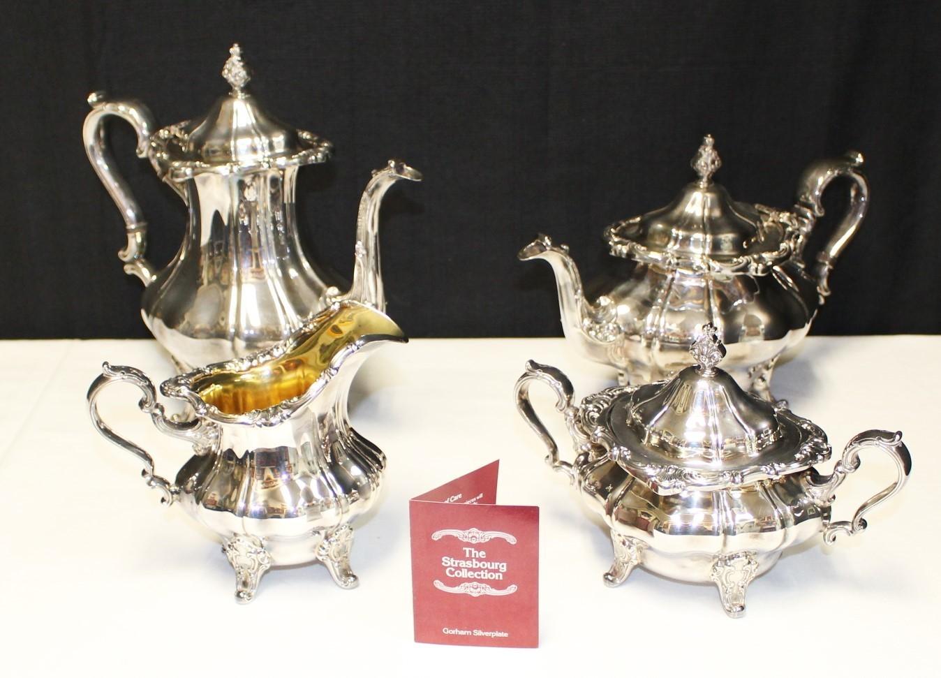 Gorham 1970's Strasbourg Silverplate 5 Piece Coffee, Teapot, Creamer & Sugar Set