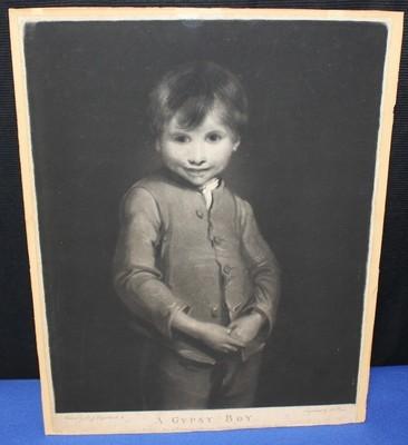 Antique 1799 Sir Joshua Reynolds British Gypsy School Boy Framed Mezzotint Print