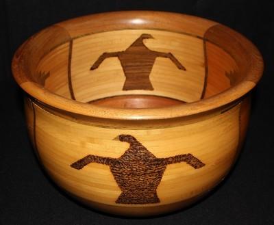 """ARTWOOD Gallery 12"""" Mahogany, Maple & Wenge Cocobolo Rosewood Bowl, Signed"""